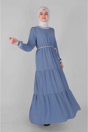 فستان سبور مزموم من المنتصف - ازرق