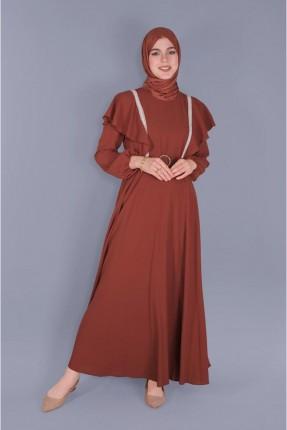 فستان سبور بكشكش - خمري