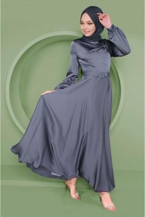 فستان سبور ساتان مزين بربطة