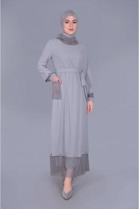 فستان سبور بجيوب - رمادي