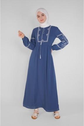 فستان سبور بنقشة - كحلي