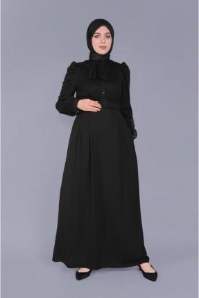 فستان سبور مزين بالتول - اسود
