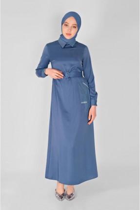 فستان سبور بجيب مزين بستراس - ازرق