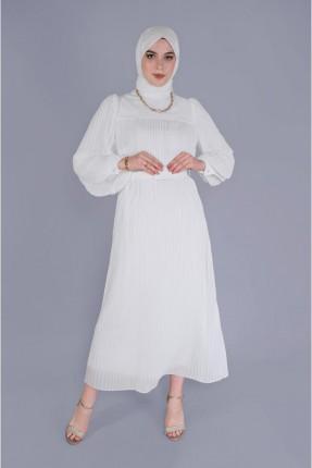 فستان سبور شيفون بموديل كسرات - ابيض