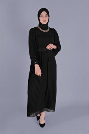 فستان سبور شيفون بموديل كسرات - اسود