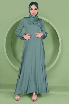فستان سبور مزموم على الاكمام - اخضر