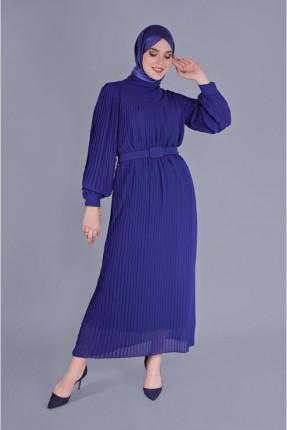 فستان سبور شيفون بموديل كسرات - كحلي