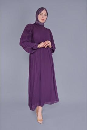 فستان سبور شيفون باكمام بالون - بنفسجي