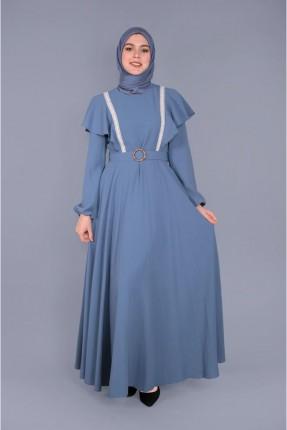فستان سبور مزين بحلقة - ازرق