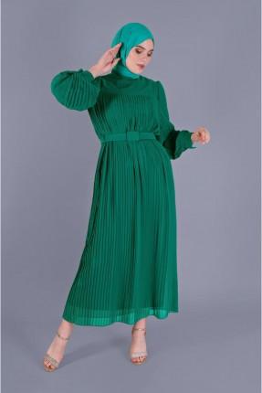 فستان سبور شيفون بموديل كسرات - اخضر
