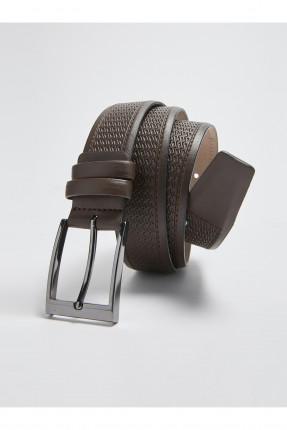 حزام رجالي تشينو منقش - بني