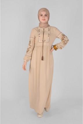 فستان سبور بتطريز - بيج