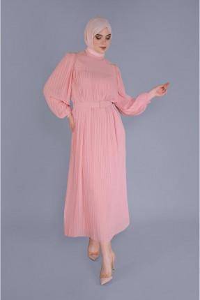 فستان سبور شيفون بموديل كسرات - وردي
