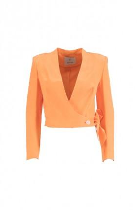 جاكيت رسمي نسائي بربطة جانبية - برتقالي