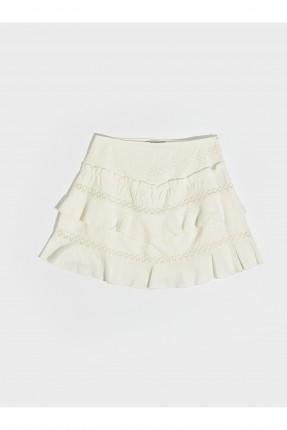 تنورة قصيرة مزينة بدانتيل