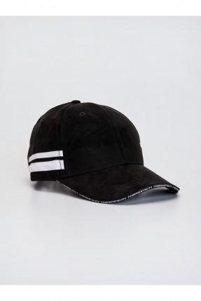 قبعة رجالية شامواه مزينة بخطوط - اسود