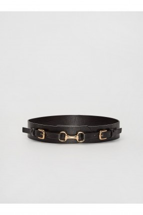 حزام نسائي مزين بقطع معدنية - اسود