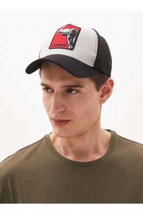 قبعة رجالية بطبعة وبكتابة - رمادي