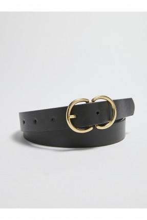 حزام نسائي مزين بقطعة معدنية - اسود