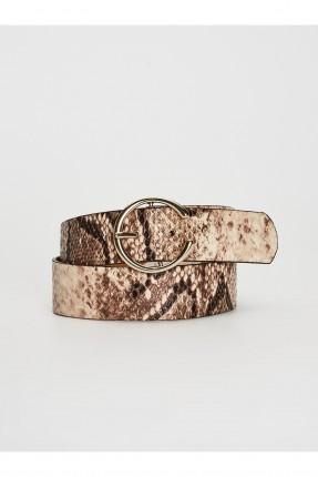 حزام نسائي جلد بنقشة جلد الثعبان