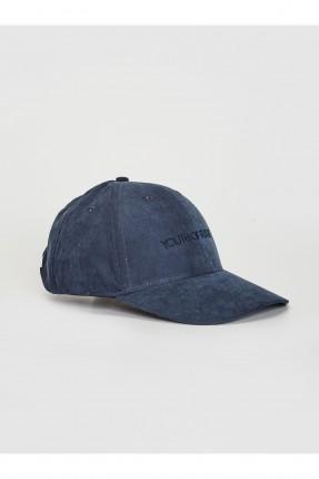 قبعة رجالية شامواه بكتابة - كحلي
