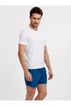 شورت سباحة رجالي بطبعة اوراق شجر - ازرق