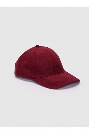 قبعة رجالية بكتابة - بوردو