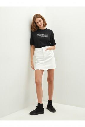تنورة قصيرة جينز - ابيض