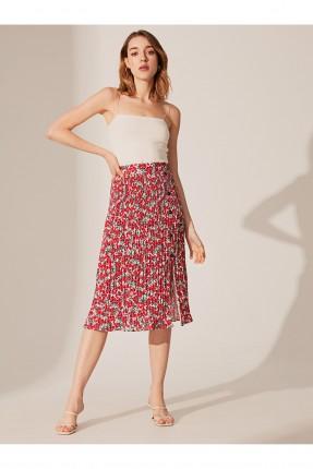تنورة قصيرة مزهرة - احمر