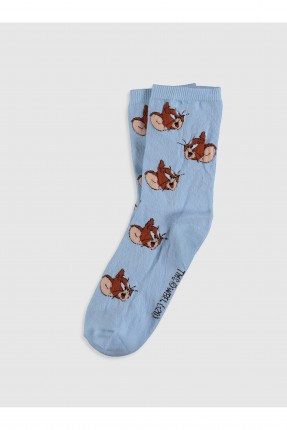جوارب نسائية بطبعة - ازرق