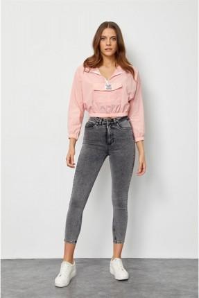 بنطال نسائي جينز قصير - فضي