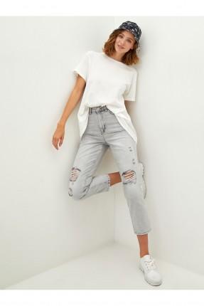 بنطال جينز نسائي بشقوق - رمادي