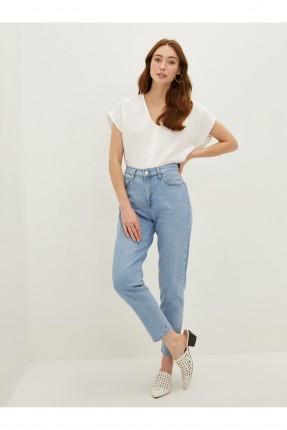 بنطال جينز نسائي سادة اللون