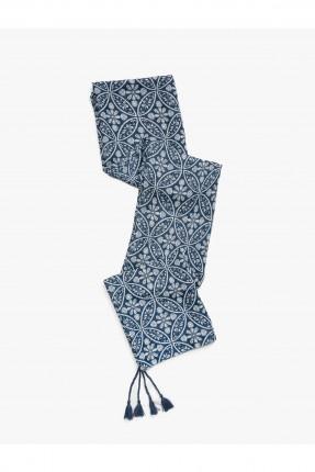 شال نسائي بنقشة - ازرق