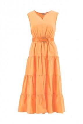فستان نسائي مزين بحزام - برتقالي