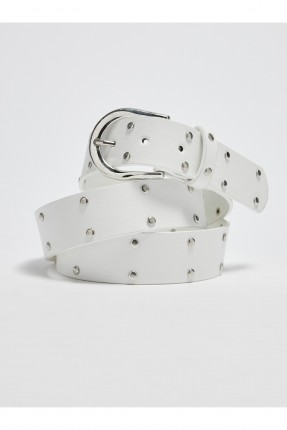حزام نسائي مزين بقطع معدنية - ابيض