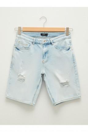 شورت جينز رجالي مزين بشقوق
