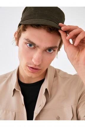 قبعة رجالية سادة اللون - زيتي