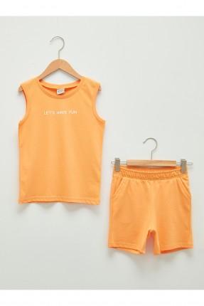 بيجاما رياضة اطفال ولادي بكتابة - برتقالي