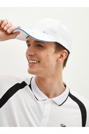 قبعة رجالية سادة اللون مزينة بخط - ابيض