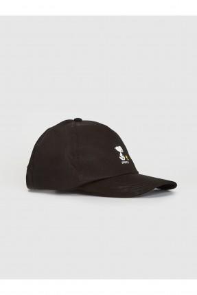 قبعة رجالية بطبعة سنوبي - اسود