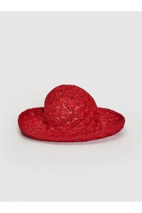 قبعة نسائية قش سادة اللون - احمر