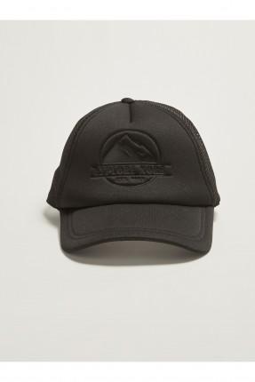 قبعة رجالية مزينة بشبك - اسود