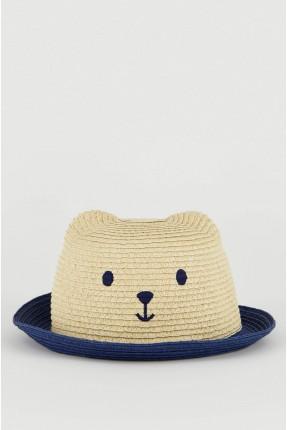 قبعة اطفال ولادي قش بلونين
