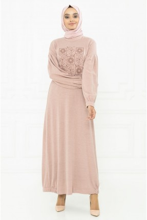 فستان سبور بنقشة - وردي