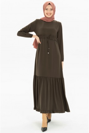 فستان سبور مزموم من المنتصف - زيتي