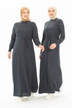 فستان سبور تريكو مزين بازرار - كحلي