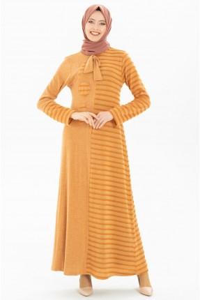 فستان سبور مخطط - برتقالي