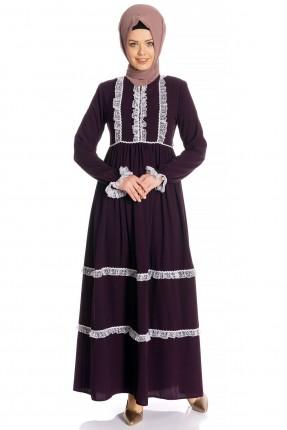 فستان سبور مزين بدانتيل - بنفسجي