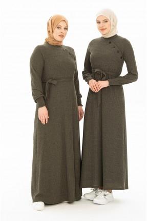 فستان سبور تريكو سادة اللون - زيتي